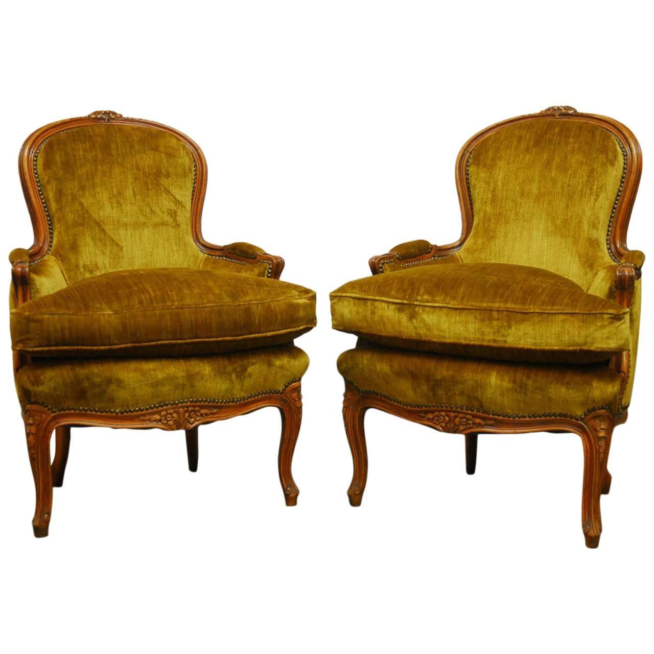 Bergere chair french rococo - Pair Of Louis Xv Hand Carved Topaz Velvet Bergere Chairs