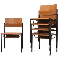 Thonet Stacking Church Chairs with Book Cubby