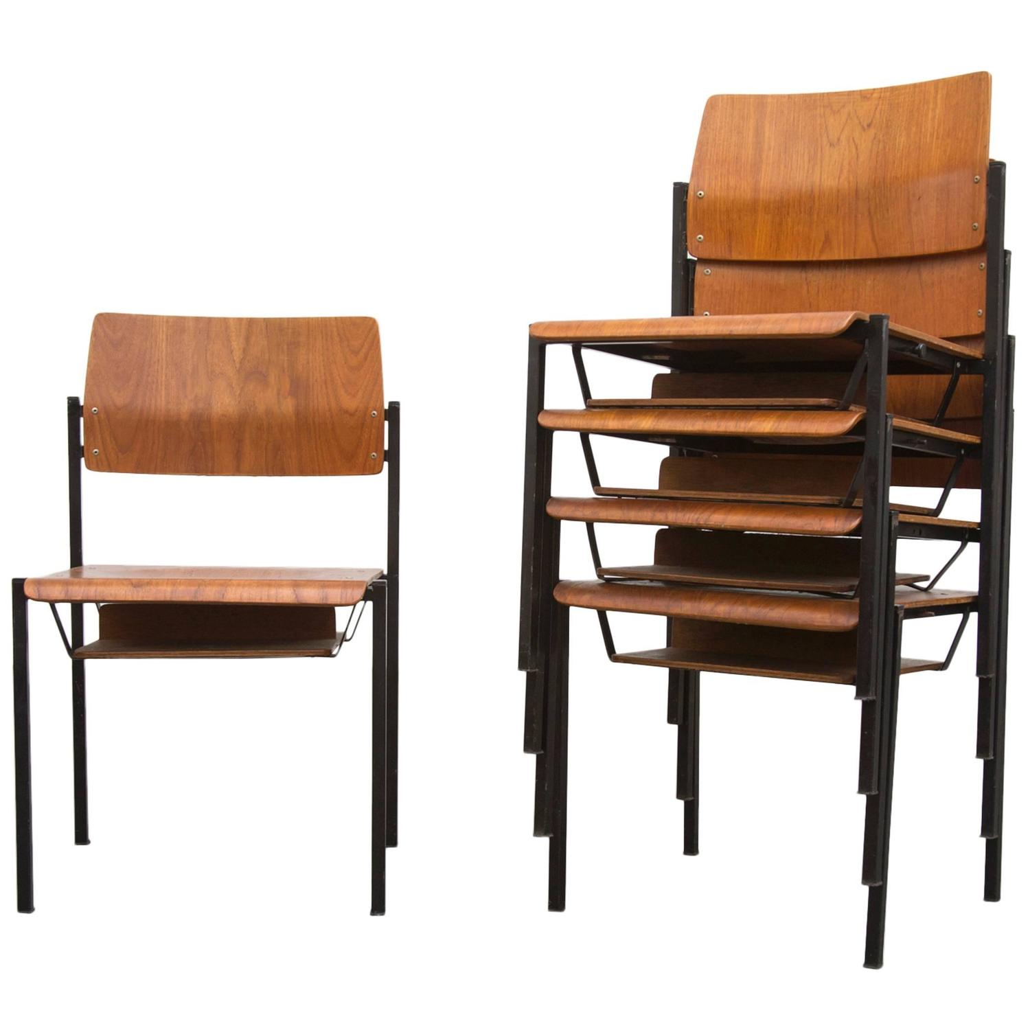 Thonet Stacking Church Chairs with Book Cubby at 1stdibs