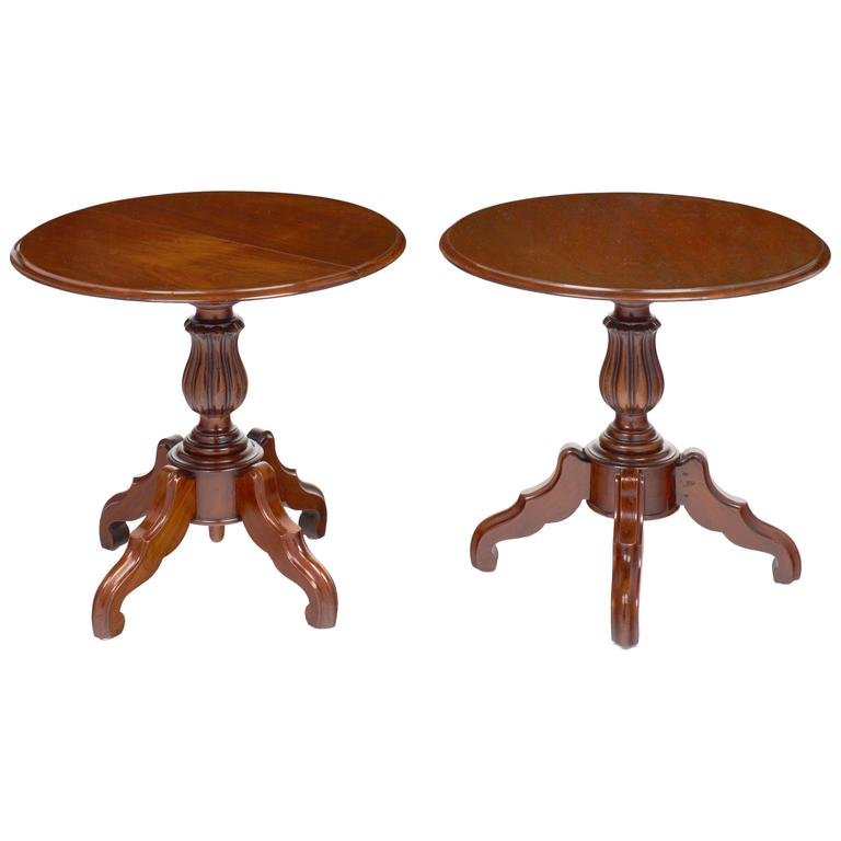 French Antique Faux Pair of Louis Philippe Side Tables