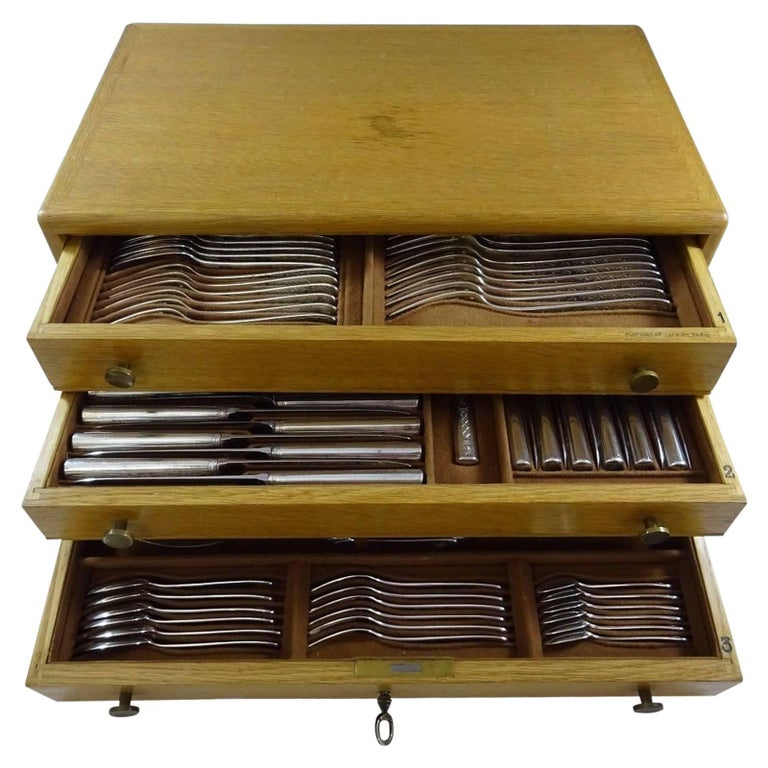 Lauzun by Puiforcat Sterling Silver Flatware Set French 77 Pcs with Fitted Box For Sale