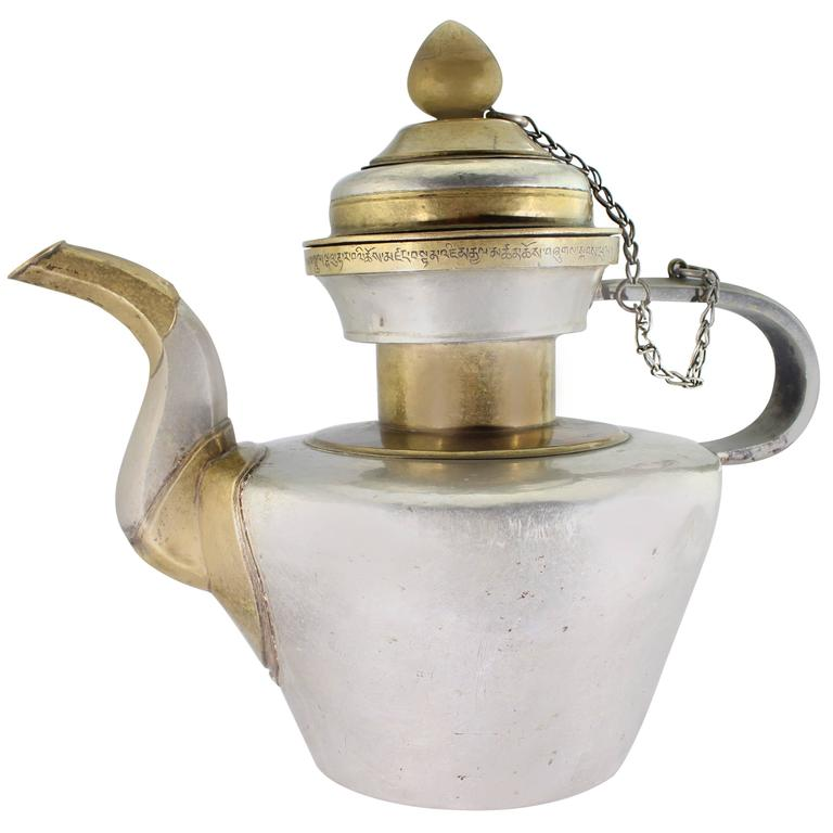 19th Century Tibetan Metallic Silver and Brass Prayer Teapot