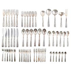 Complete Art Deco Dagmar Silver Plated Cutlery for Six Pcs, Denmark, circa 1940