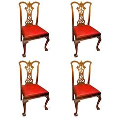 "Set of Four Antique English Mahogany ""Signed"" Chippendale Style Chairs"