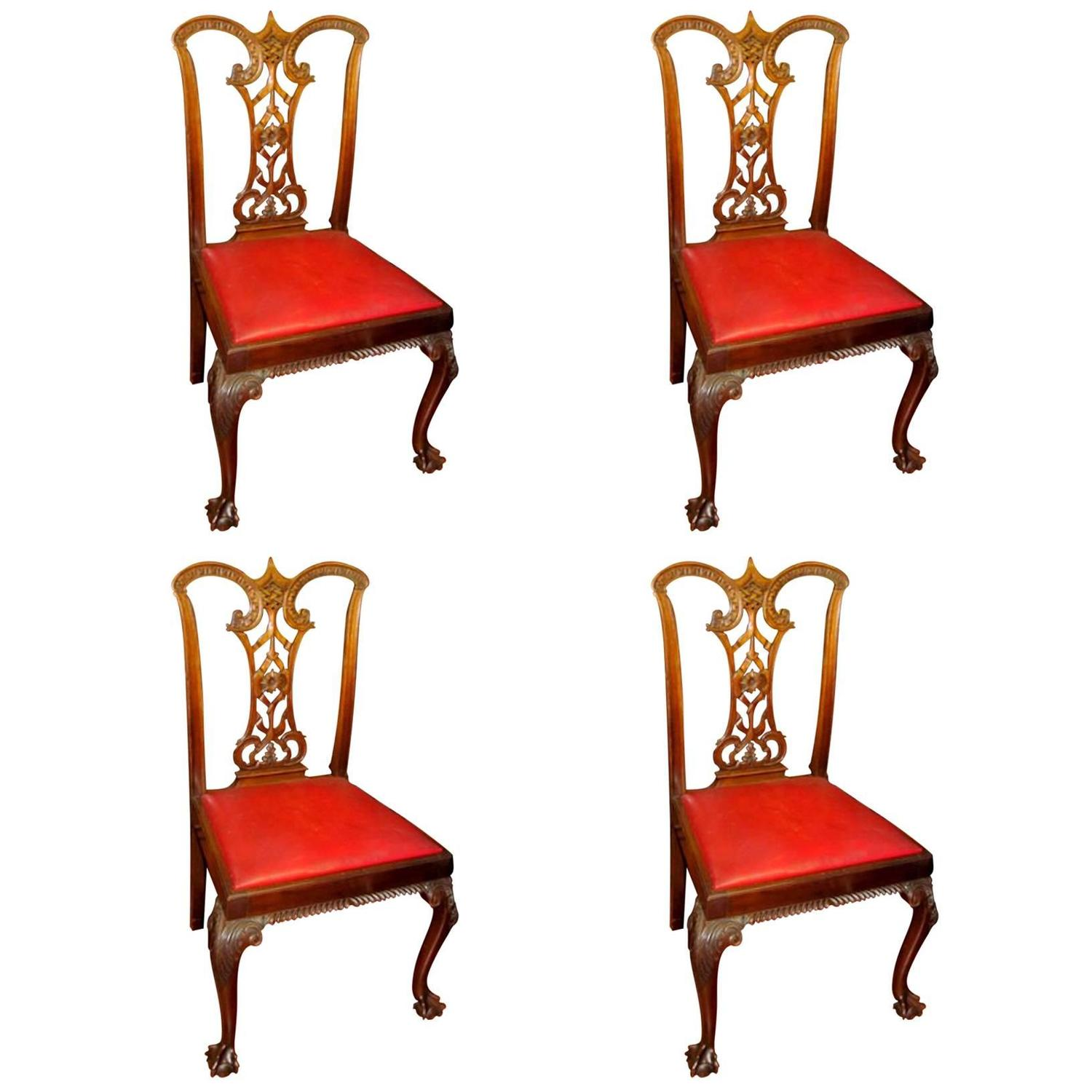 "Sofa For Sale In Wolverhampton: Set Of Four Antique English Mahogany ""Signed"" Chippendale"