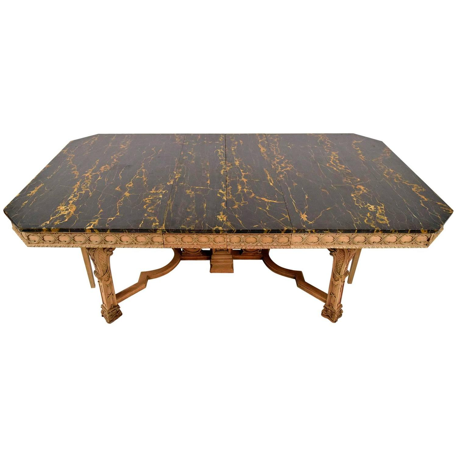 Antique Regency Style Dining Table with Faux Marble Top  : 4303273z from www.1stdibs.com size 1500 x 1500 jpeg 105kB