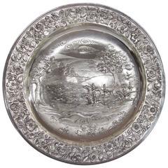 Huge Antique English Geo. IV Cast Sterling Sideboard Dish or Charger, Hunt Scene