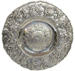 Geo IV Large Heavy Cast Sterling Sideboard Dish or Charger, Allegorical Border