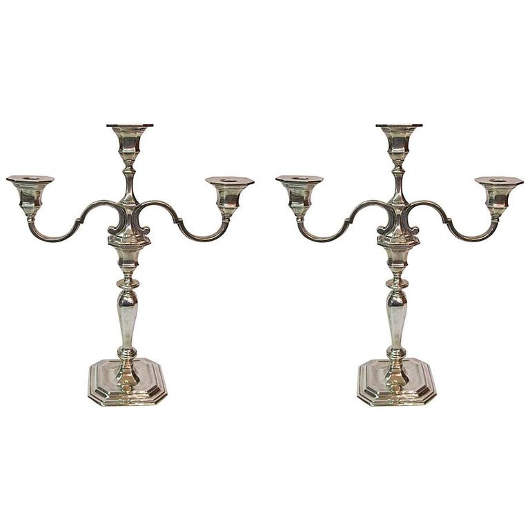 Pair of Tiffany & Co. Sterling Silver Geo. III Style Three-Light Candelabra