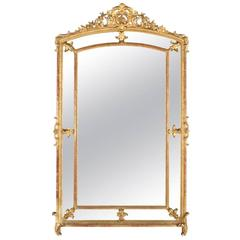 Large Impressive 19th Century French Giltwood Parclose Mirror