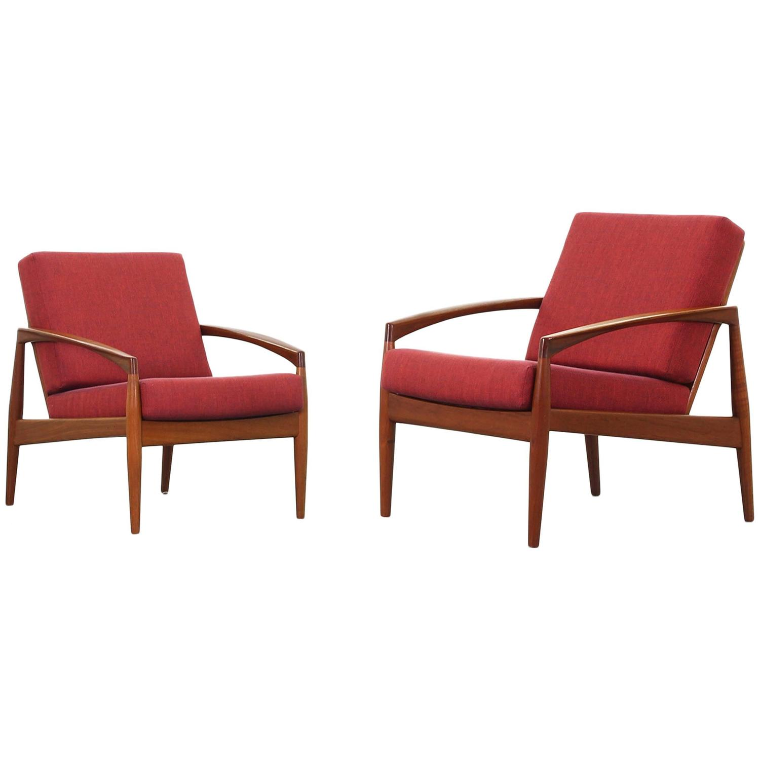 Beautiful pair of lounge chairs paperknife by kai kristiansen for magnus olesen at 1stdibs - Kai kristiansen chairs ...