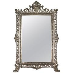 Standing Vanity Mirror in Silvered Bronze from the 19th Century