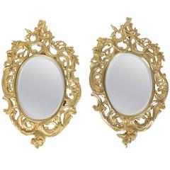 Pair of Gold Gilt Bronze Mirrors from the 19th Century