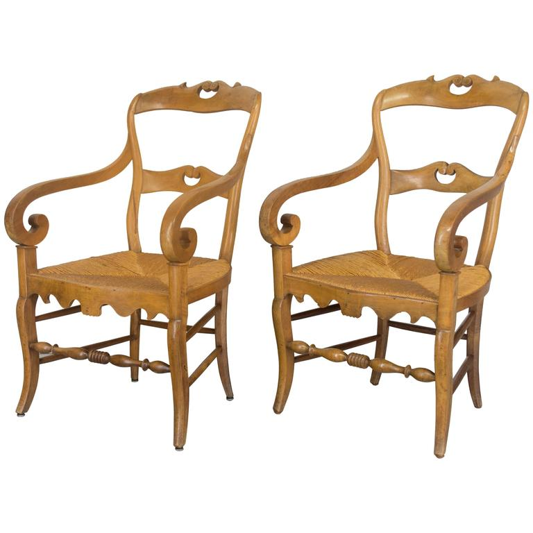 Pair of Louis Philippe Rush Seat Armchairs