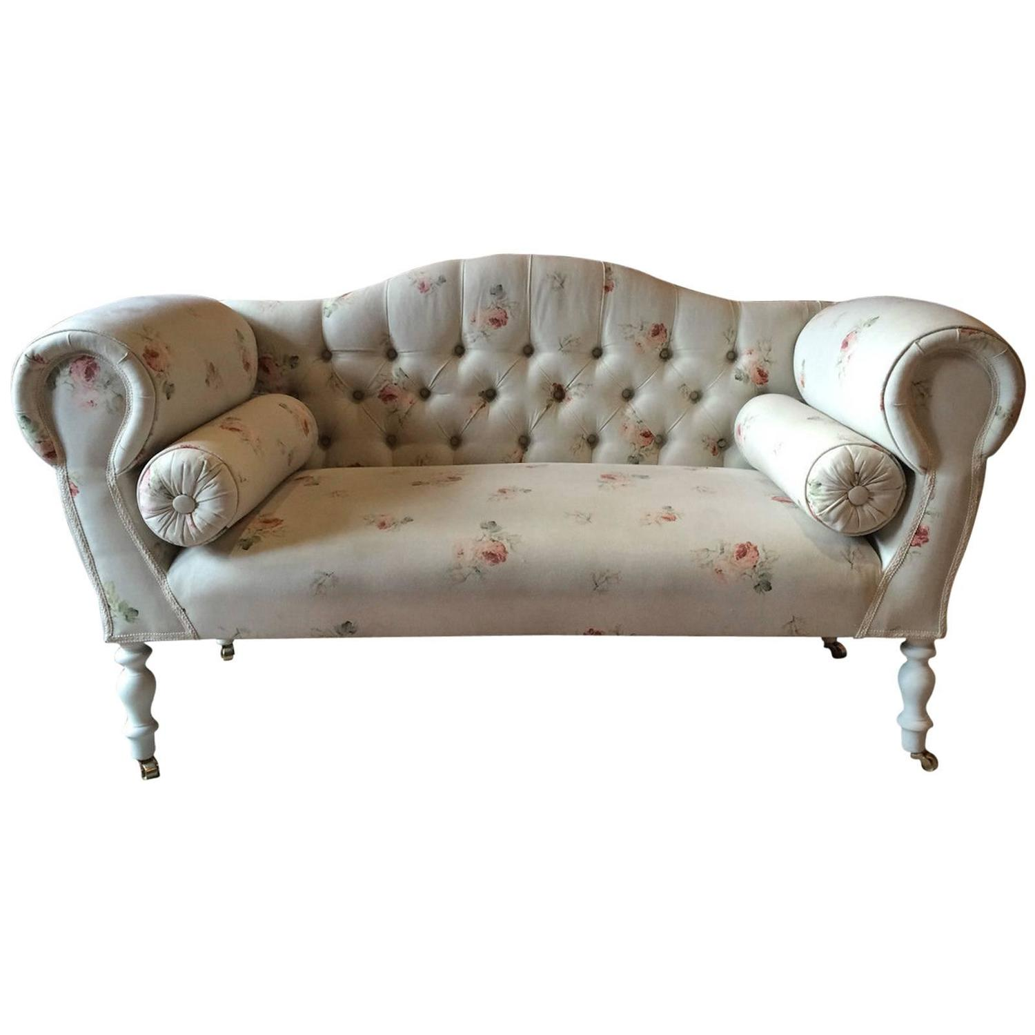 Stunning Laura Ashley Sofa Shabby Chic Button Back Settee Antique