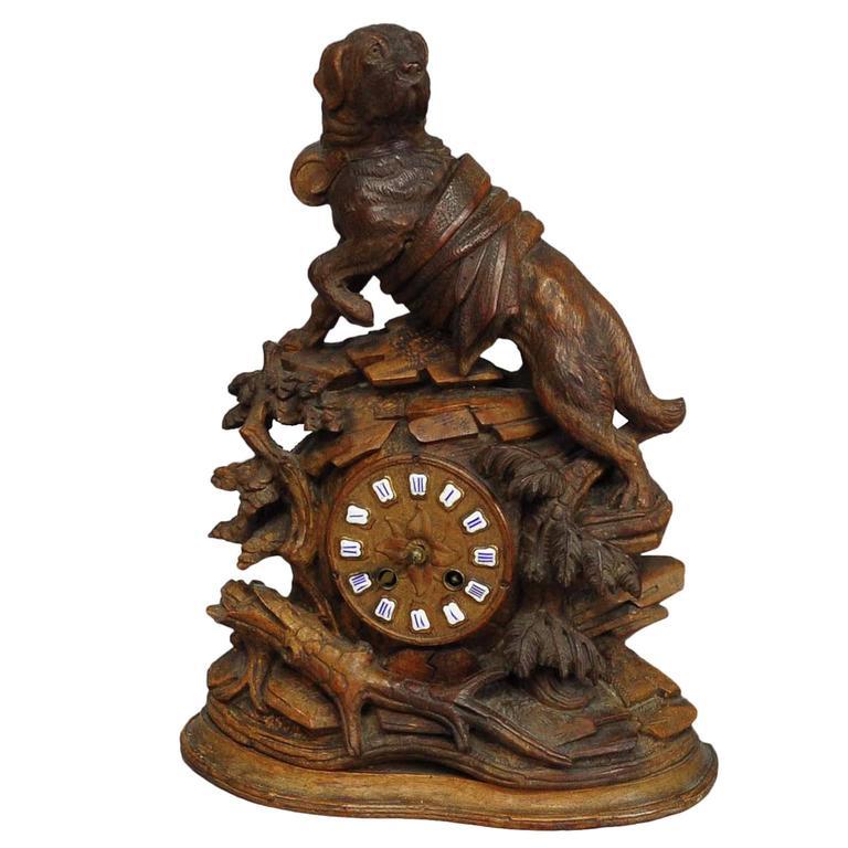 Antique Mantle Clock with Charming Rescue St. Bernard Dog Sculpture