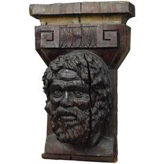 Wooden Sculpture of a Masculine Face