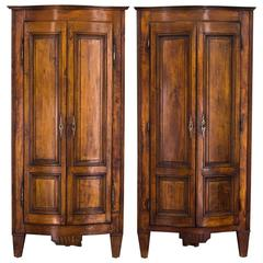 Pair of 18th Century French Country Corner Cabinets