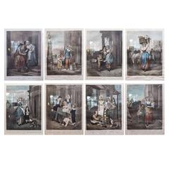 """Framed Set of Eight """"Cries of London"""" Hand-Colored Engravings, 19th Century"""