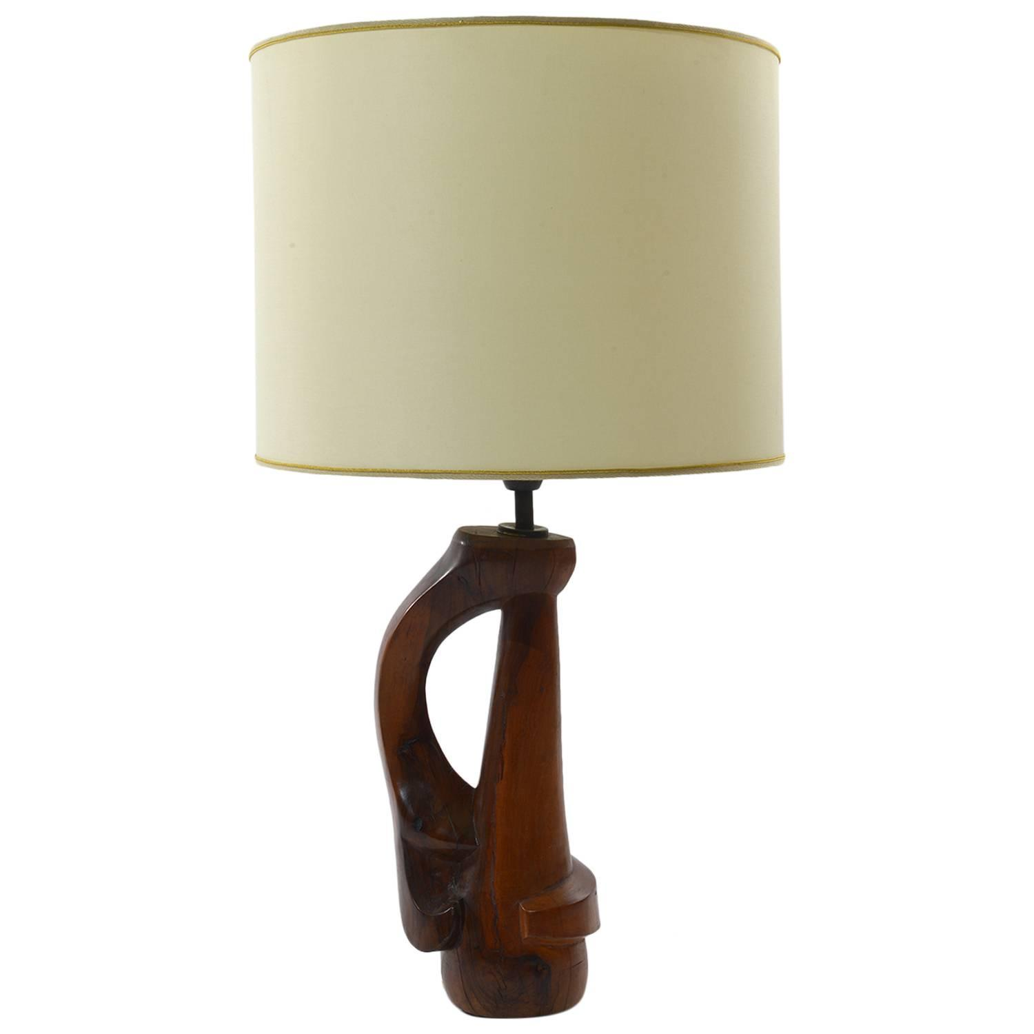 french 1950s solid sculptured wood table lamps for sale at 1stdibs. Black Bedroom Furniture Sets. Home Design Ideas