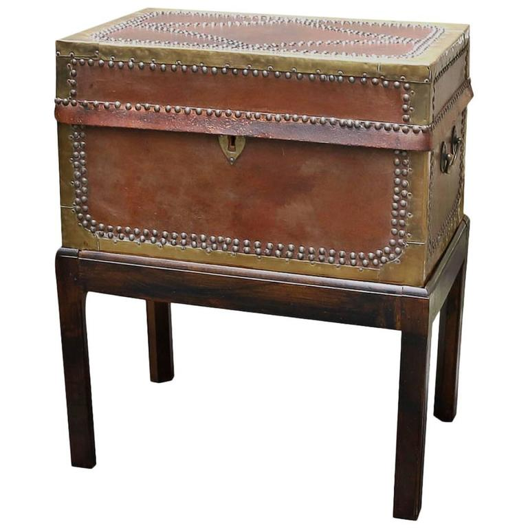 English Brass Bound Leather Trunk on Stand or Side Table, 19th Century