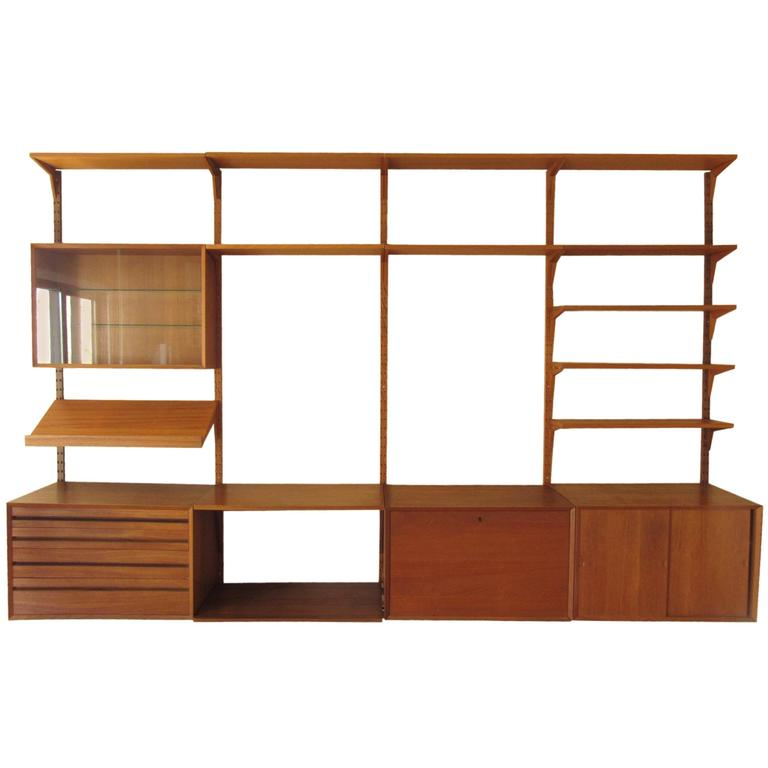 Mid Century Modern Danish Teak Modular Wall Unit After