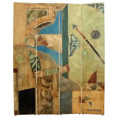 Postmodern, Abstract, Pop-Art Folding Screen, Painting Signed Jacques Lamy