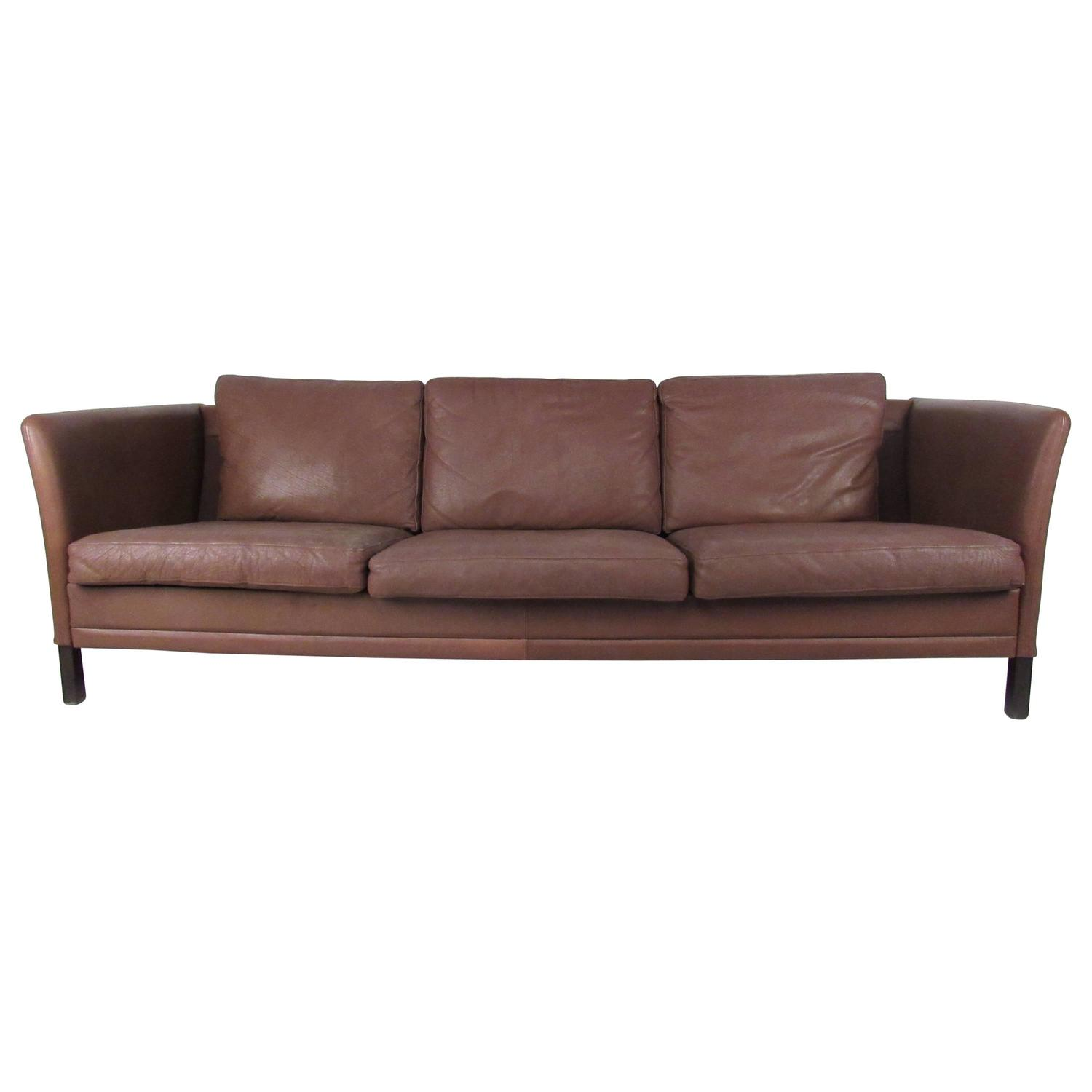 impressive mid century danish modern leather sofa for sale