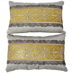 Pair 18th c Antique French Textile Fragment Pillows Eleganza Italiana