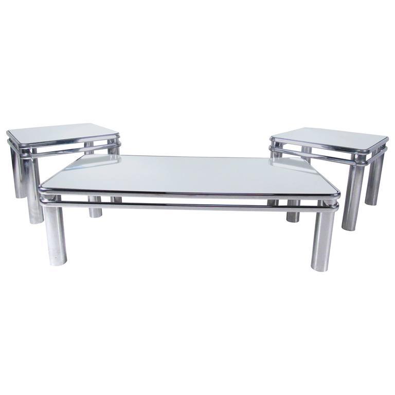 Tubular Chrome Coffee Table: Unique Set Of Mid-Century Modern Tubular Chrome Tables For