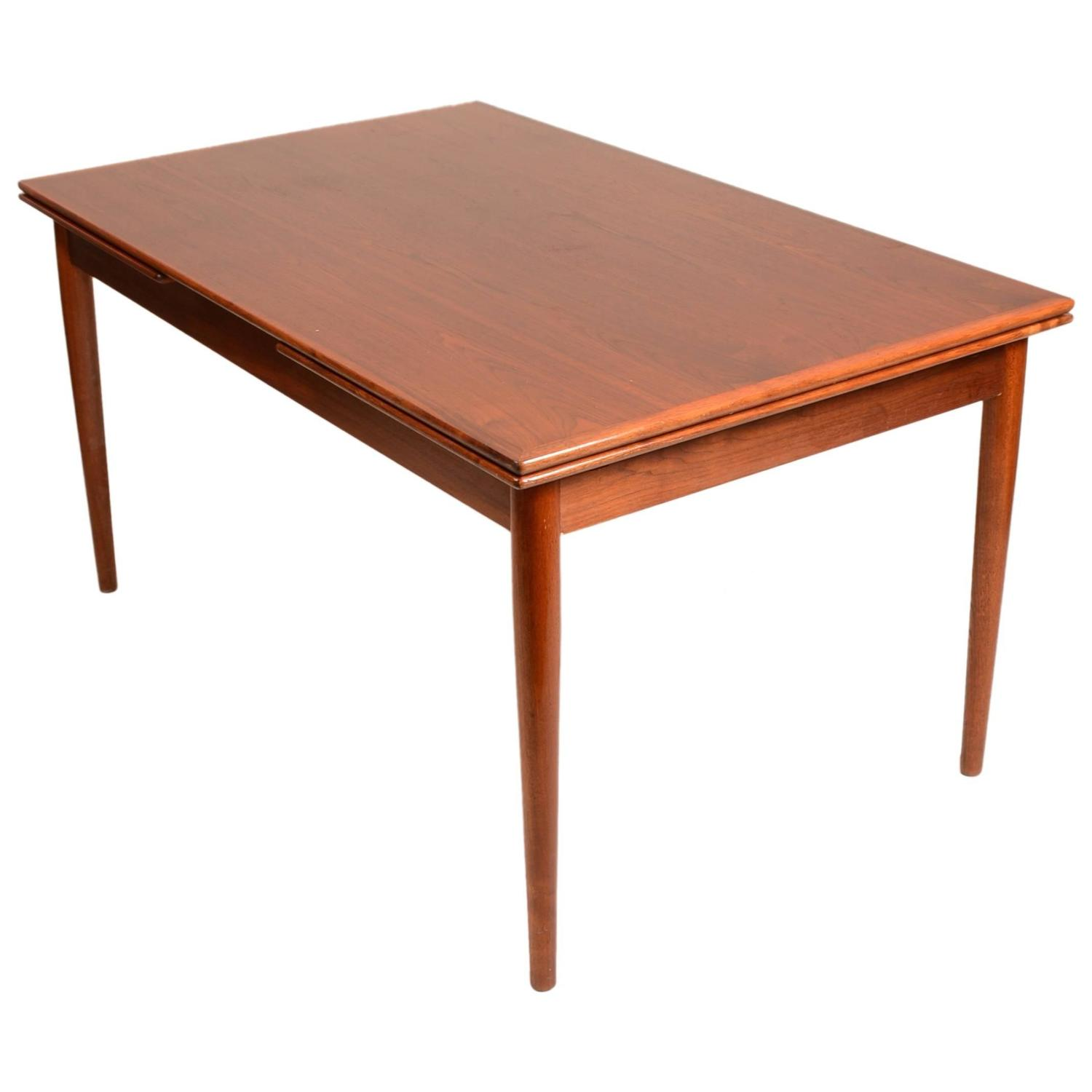 Large Danish Modern Draw Leaf Dining Table In Teak For