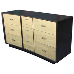 Fabulous Modern Curved Gold Leaf and Ebonized Nine Drawer Dresser