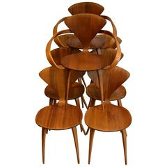 Set of Eight Norman Cherner for Plycraft Walnut and Beech Dining Chairs, 1950s
