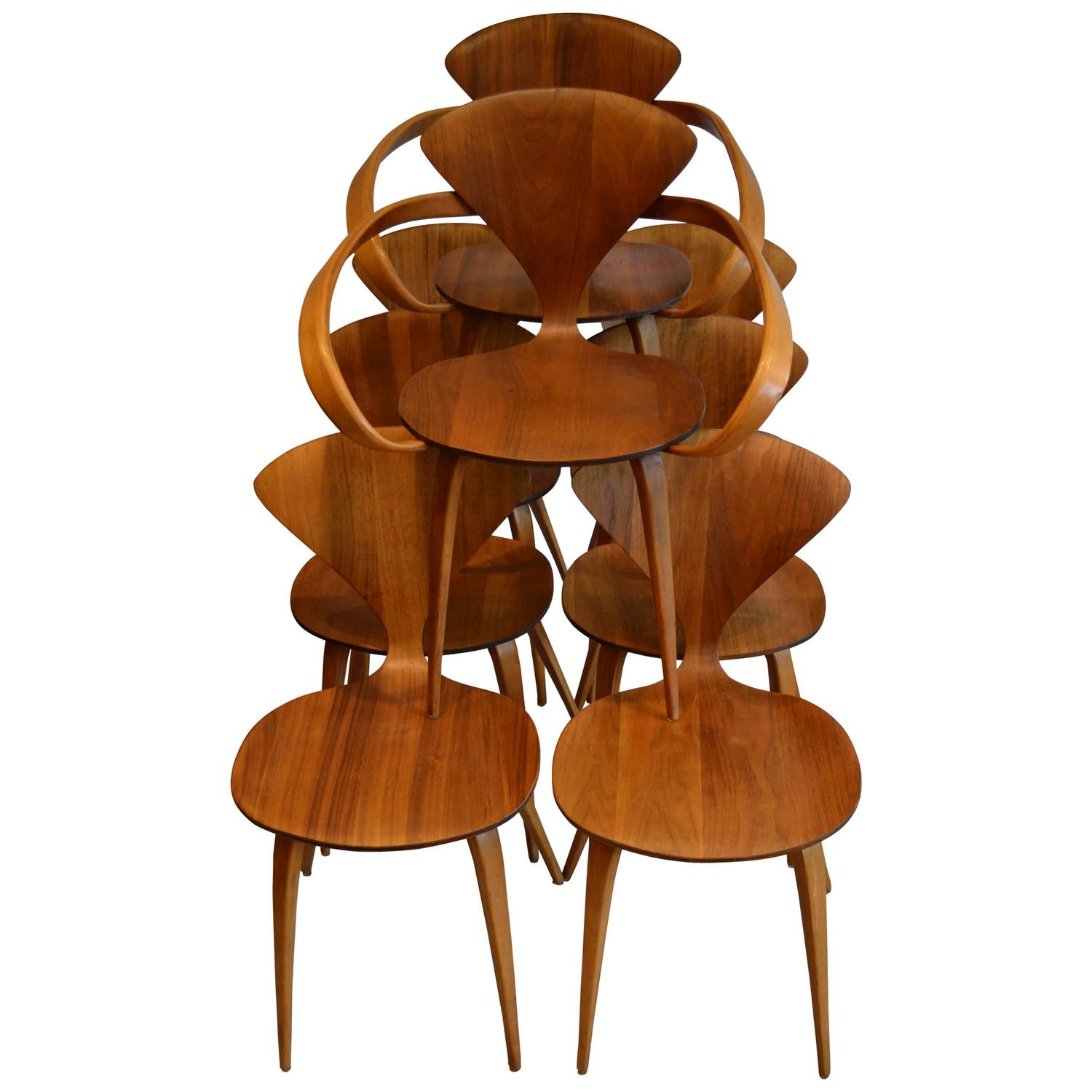 set of eight norman cherner for plycraft walnut and beech dining chairs 1950s at 1stdibs