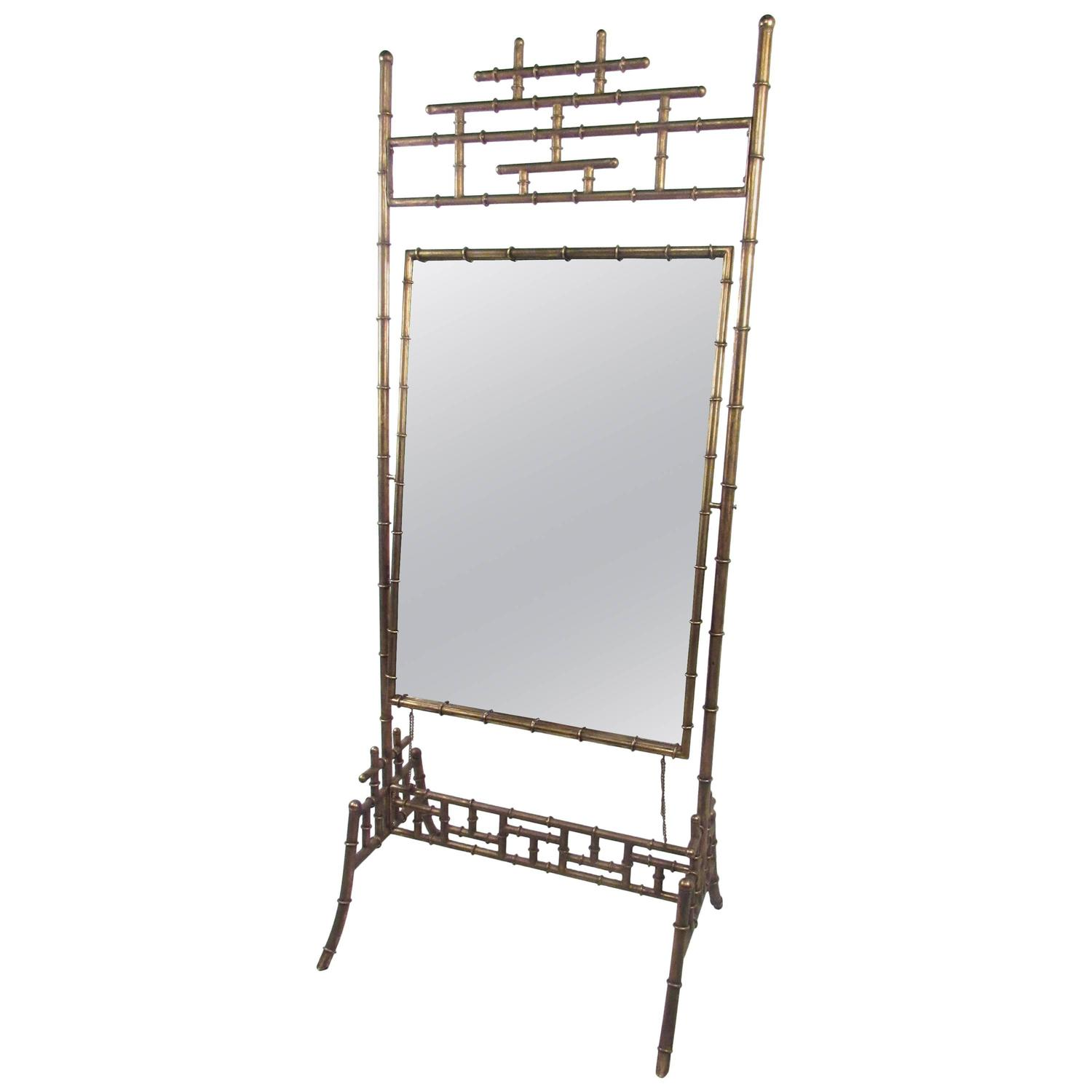Stylish vintage full length bamboo style dressing mirror for Vintage floor length mirror