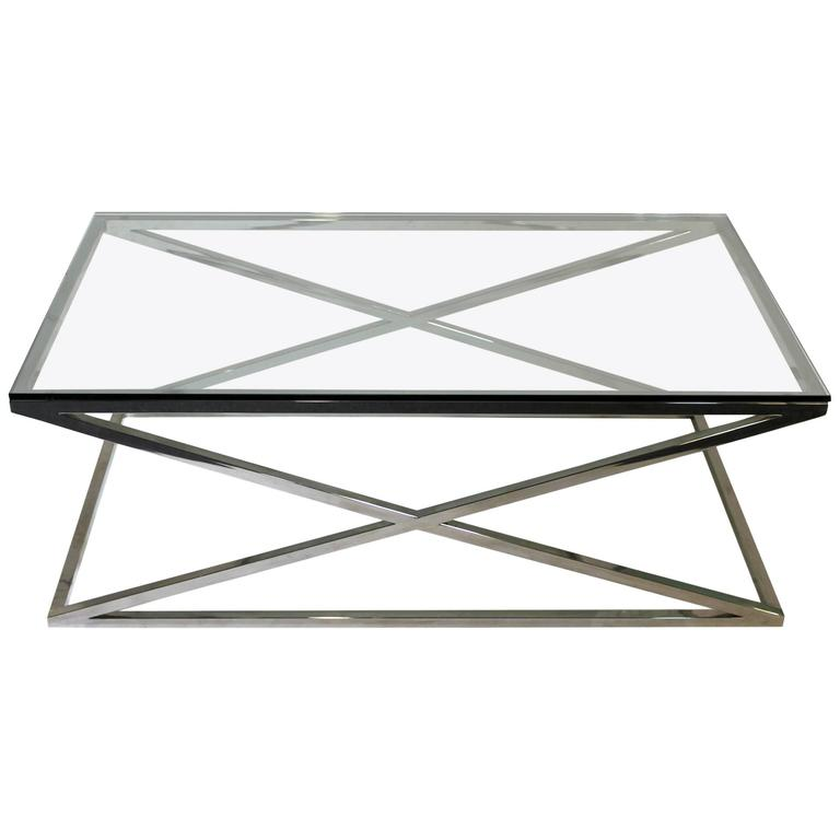 Mid Century Modern Rectangular Glass Coffee Table Chrome X Base 1