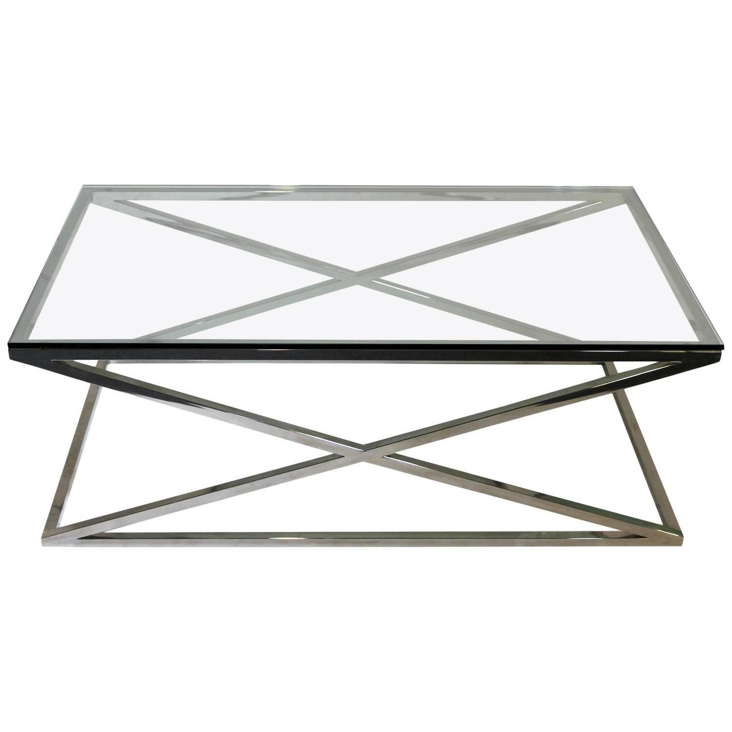 Mid Century Modern Rectangular Glass Coffee Table Chrome X Base at
