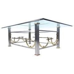 Mid-Century Modern Maison Jansen Style Chrome & Brass Coffee Table