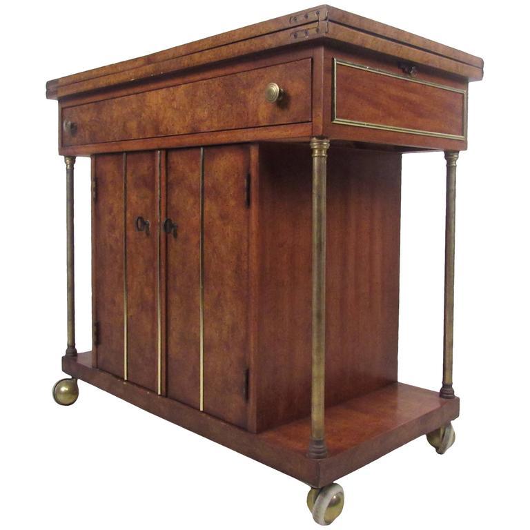 Mid-Century Modern Burl Wood Bar Cart by Weiman