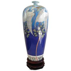 Art Nouveau Belleek Willets Hand Painted Porcelain Vase, 1908
