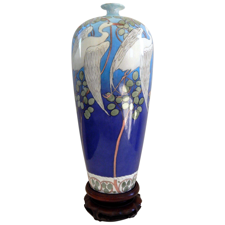 Belleek Willets Art Nouveau Hand Painted Porcelain Vase, 1908