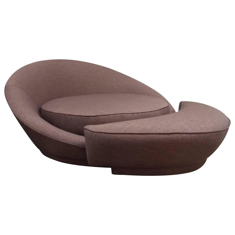 Milo Baughman Round Loveseat or Lounge Chair with Ottoman