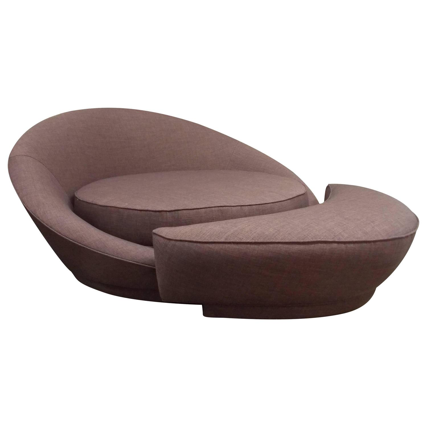 Milo Baughman Round Loveseat Or Lounge Chair With Ottoman At 1stdibs