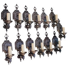 Rare Set of Thirteen 1920 Sconces ( six are sold )
