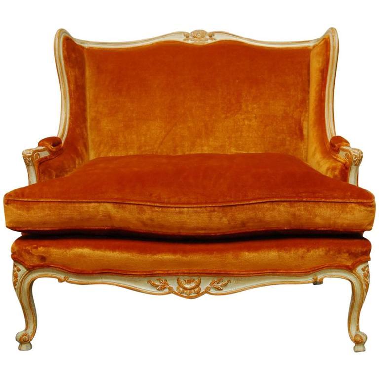 French Louis XV Velvet Wingback Loveseat Settee For Sale