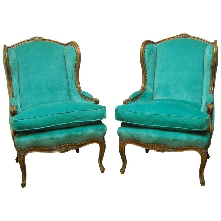 Pair of Louis XV Style Turquoise Velvet Wingback Bergères For Sale