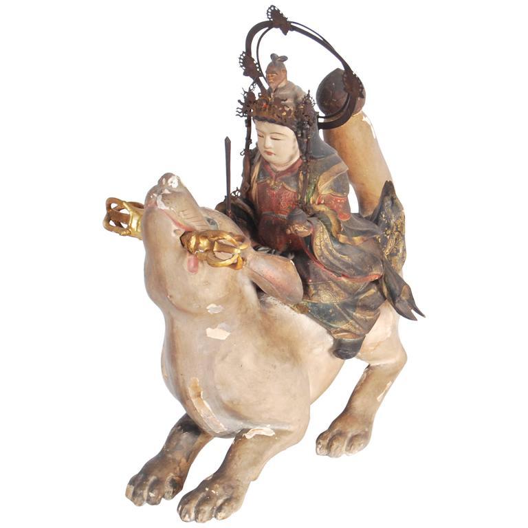 Antique Japanese Statue of Dakini Ten For Sale