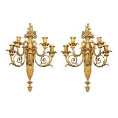 Pair Gilt  Bronze  5 Light Sconces