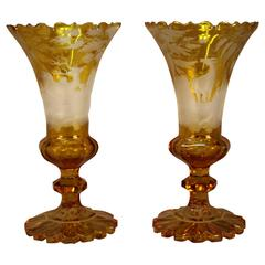 Antique Moser Pair of Amber Vases