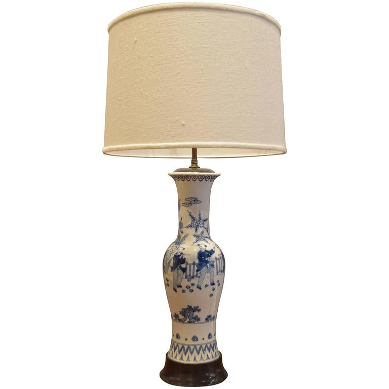 vintage chinese blue and white porcelain lamp for sale at. Black Bedroom Furniture Sets. Home Design Ideas